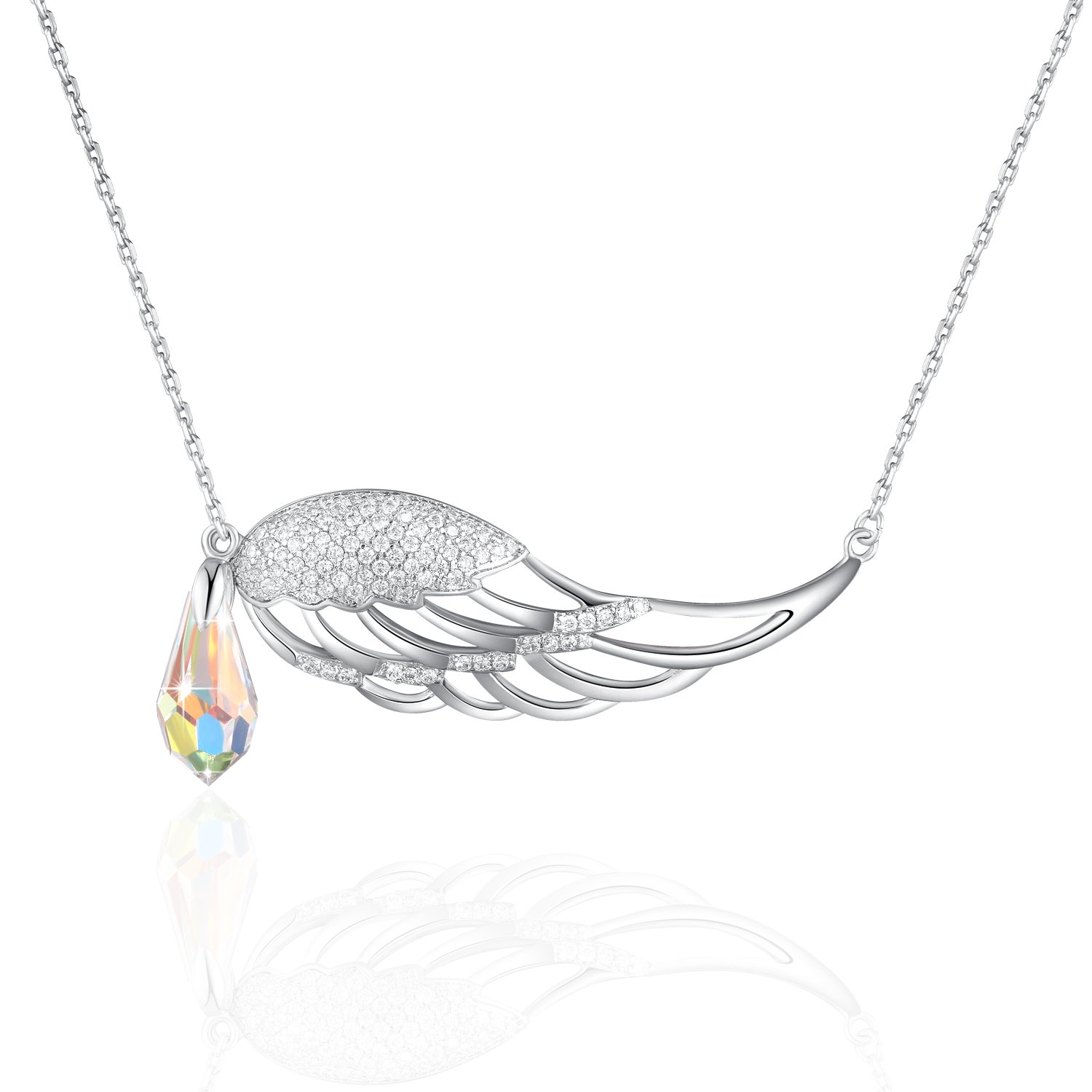Angel Wings Necklace PLATO H Guardian Angel Wing Drop Pendant Necklace with Swarovski Crystal for Women Fashion jewelry, Bithday Gifts, Love Angle Necklace For Mom, Guardian Wings Crystal Drop Necklac