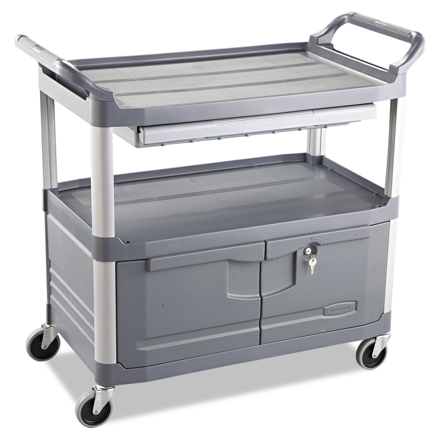 Rubbermaid Commercial RCP 4094 GRA Xtra Instrument Cart, 300 lb. Cap, Three-Shelf, 20'' Width x 40-5/8'' Depth x 37-4/5'' Height, Gray by Rubbermaid Commercial