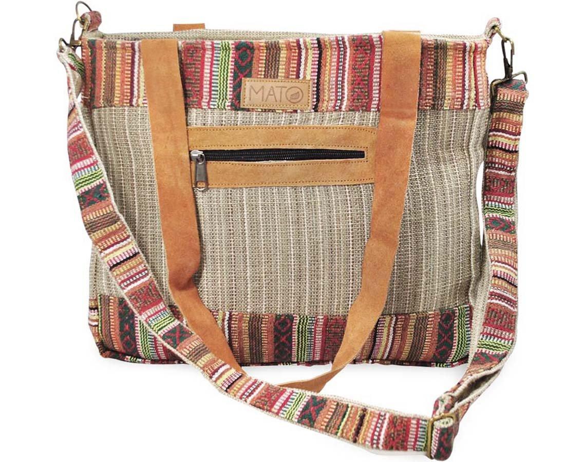Mato Boho Crossbody Shoulder Hemp Tote Bag Bohemian Shopping Handbag Tribal Aztec Baja Pattern