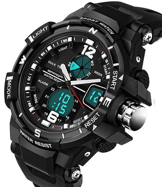Niños reloj digital analógico impermeable de los deportes cronómetro relojes para Running Hinking negro: Amazon.es: Relojes