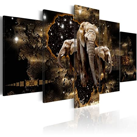 Konda Art Elephant Family Wall Pictures for Living Room Starry Sky 5 Piece Animal Painting on Canvas Contemporary Home Decoration Print Artwork Framed and Ready to Hang Brown Elephants, 60 x 30