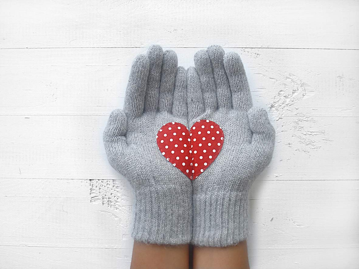 Heart Gloves, Gloves with Heart, Holiday Gift, Funny Gift