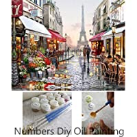 Aksuo Paint by Numbers Kits DIY Canvas Oil Painting for Kids, Students, Adults Beginner - Paris Flower Street 16 x 20 Inch with Brushes and Acrylic Pigment(Without Framed)