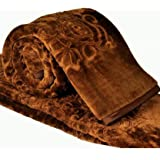 Cloth Fusion Celerrio Mink Double Bed Blanket For Winter-Chocolate Brown