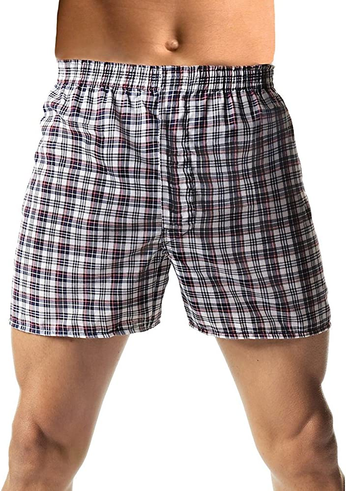 X-Large, White Hanes Mens 5-Pack FreshIQ Tagless Tartan Boxers with Exposed Waistband