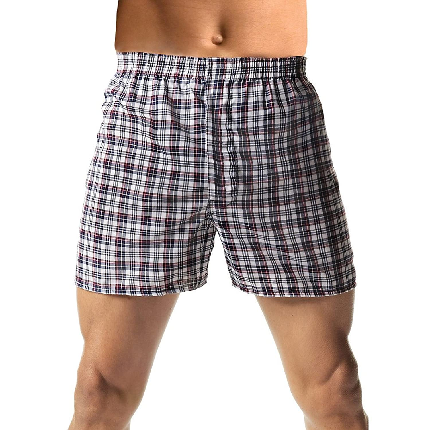 Hanes Men's 5-Pack FreshIQ Tagless Tartan Boxers with Exposed Waistband (Fashion Waistband)