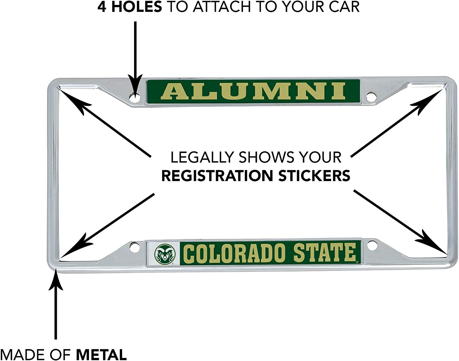 Desert Cactus Colorado State University CSU Rams NCAA Metal License Plate Frame for Front Back of Car Officially Licensed Alumni