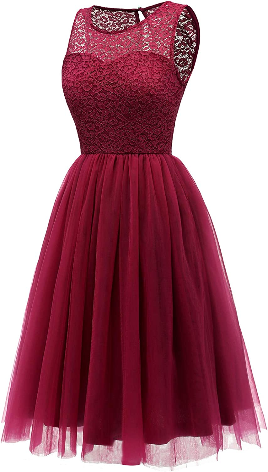 bbonlinedress Womens Short Tulle Prom Dress Lace Bridesmaid Cocktail Party Swing Dress