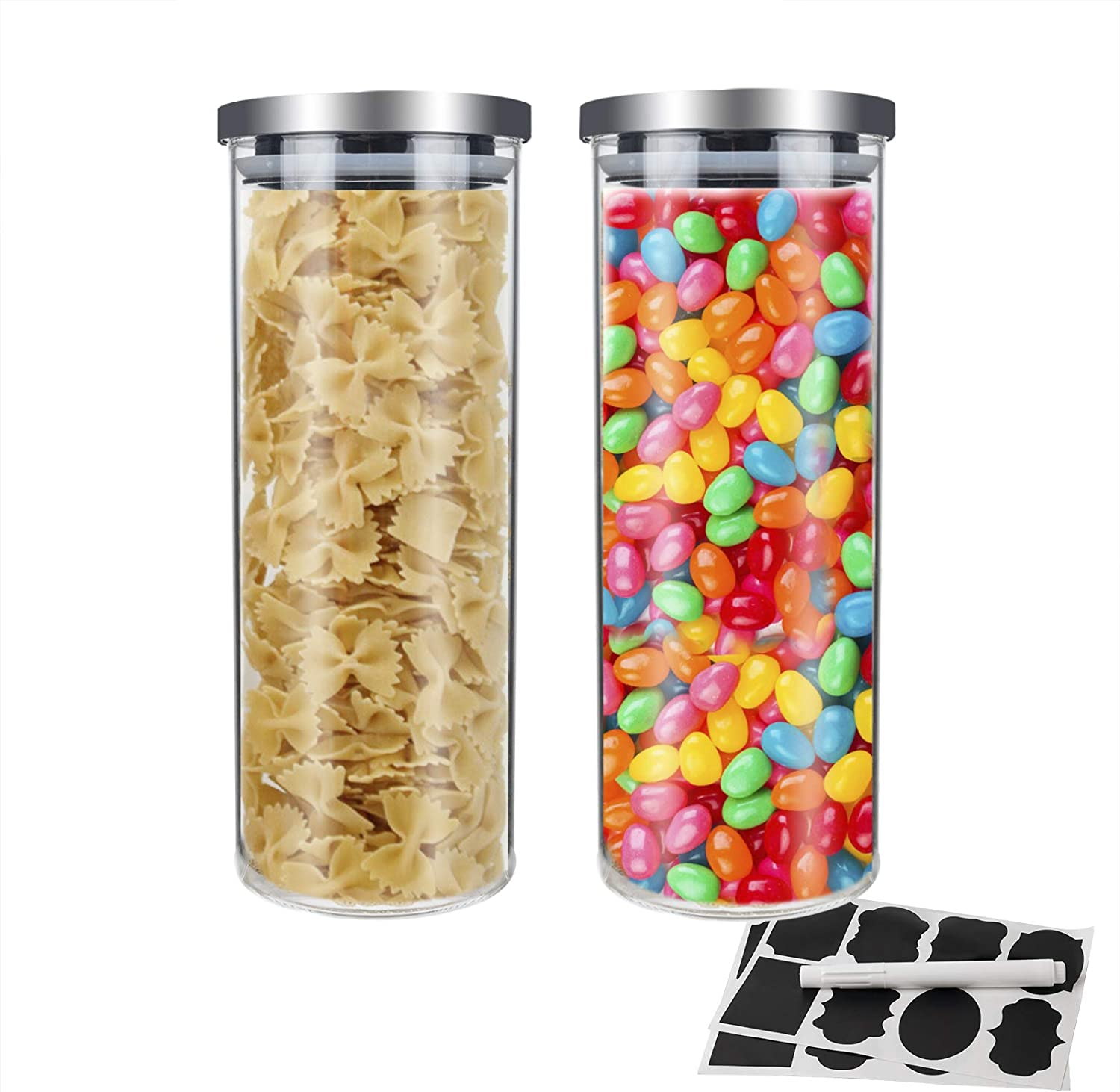 IDEALUX Set of 2 Glass Kitchen Canisters with 16PCS Labels and Chalkboard Pen, 68 Oz Kitchen Glass Jar, Round Food Glass Storage Containers 2000ML with Airtight Stainless Steel Lids (68 OZ)