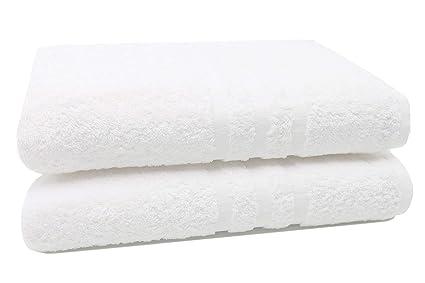 ZOLLNER 2 Toallas de baño Grandes 100% algodón, 100x150 cm, Blancas: Amazon.es: Hogar