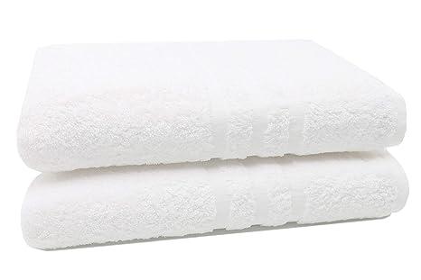 ZOLLNER 2 Toallas de baño Grandes Blancas, 100x150 cm, 100% algodón