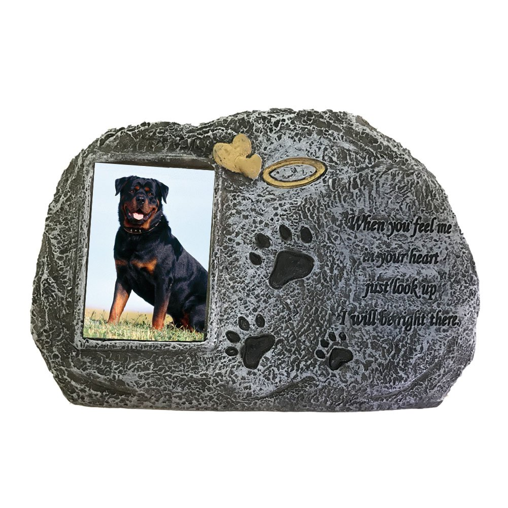 Paw Print Pet Memorial Stone with Photo Frame and Poem - 8 W x 2.3 D x 5.5 H - Pet Grave Headstone Tombstone - Loss of Pet Gifts (Grey) Joy2016