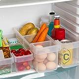 KURELLE Confezione da 2 Frigorifero congelatore Contenitori cucina dispensa scatola portaoggetti organizer Frigo Bins per Conservare Verdure Frutta storage etc, (Medio) 40cmx12cmx12cm Trasparente