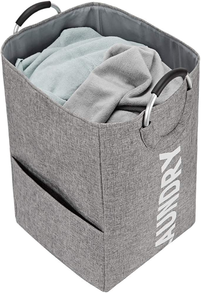 NISHEL Large Laundry Hamper with Handles, 16 x 16 x 26 inches Collapsible Dirty Clothes Basket for Washing Storage, Grey (White Laundry)