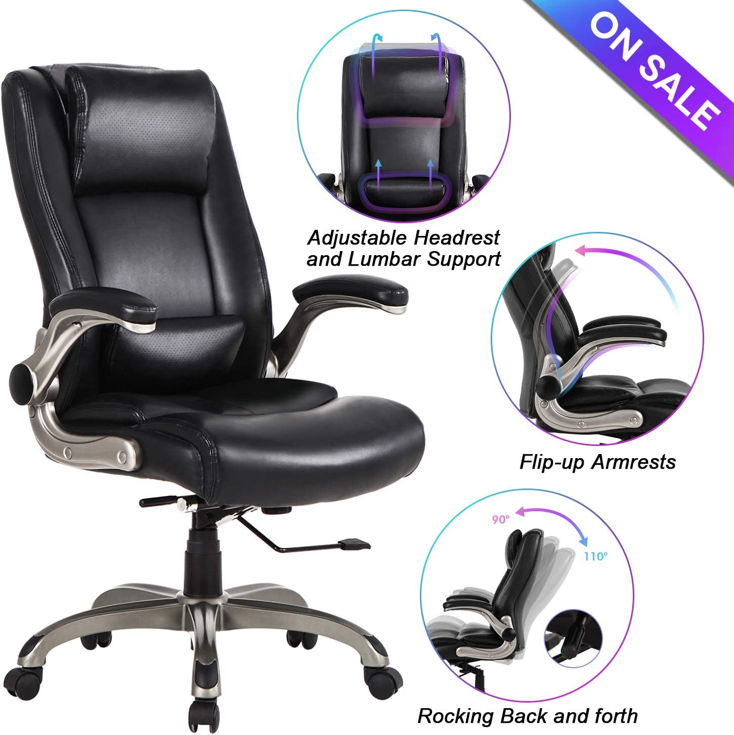 Office Chair High Back Leather Executive Computer Desk Chair – Adjustable Lumbar Support, Slidable Headrest and Flip-up Arms, Thick Padding for Comfort