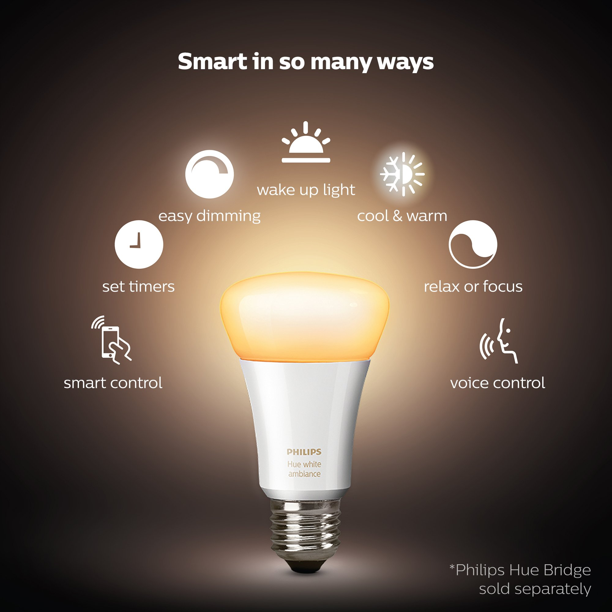 Philips Hue 2-Pack White Ambiance 60W Equivalent Dimmable LED Smart Bulb (Works with Alexa Apple Homekit and Google Assistant) by Philips Hue (Image #2)