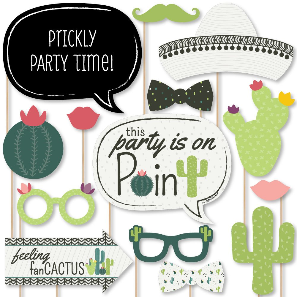 Big Dot of Happiness Prickly Cactus Party - Fiesta Party Photo Booth Props Kit - 20 Count by Big Dot of Happiness