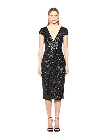 bc3feac1 Dress the Population Women's Allison Plunging Sequin Fitted Midi Cap Sleeve  Sheath Dress, Black Cheetah