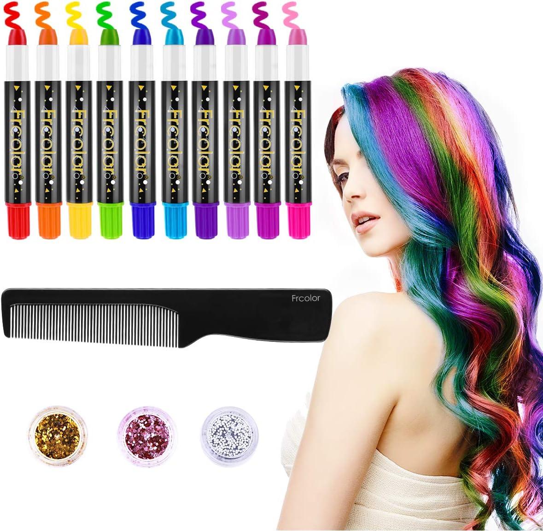 Lurrose 10 Colores de Tinte para el Cabello, Tiza, Set, no ...
