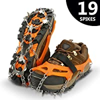 IPSXP Ice Tacchetti, 19 Dente Antiscivolo Tacchetti Ramponi Neve Ghiaccio Traction per Scarpe Stivali, Usato per Trekking, Camminare, Escursioni in Inverno