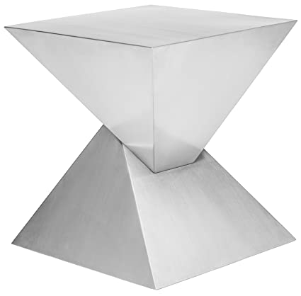 Giza Steel Side Table In Brushed Stainless Steel By Nuevo   HGSX365