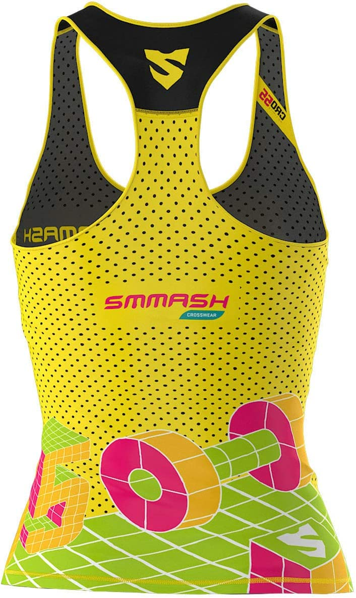 SMMASH Go Candy Yellow Sport Debardeur Femme Shirt sans Manches Tank Top Parfait pour la Gym Le Yoga Mat/ériau Antibact/érien Fit Cut Produit dans lUnion Europ/éenney Le Fitness
