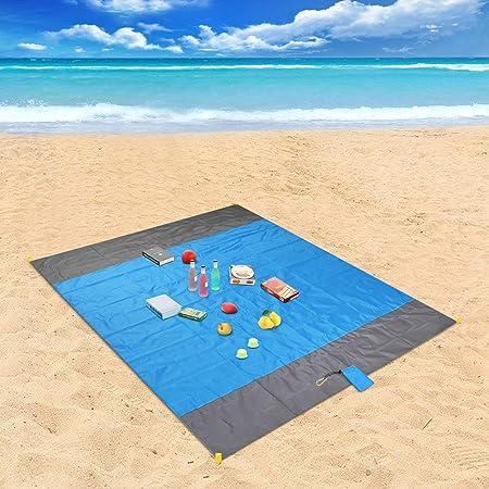 laxikoo Picknickdecke, Stranddecke 210 x 200 cm Wasserdichte Sandabweisende 4 Befestigung Ecken Ultraleicht kompakt Campingde