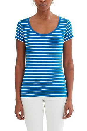 edc by ESPRIT Damen T-Shirt 047CC1K056, Blau (Blue 430), 34