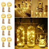 LE Wine Bottle Lights with Cork, 6.6ft 20 LED Battery Operated String Lights, Warm White Decorative Fairy Lights, Mini Copper