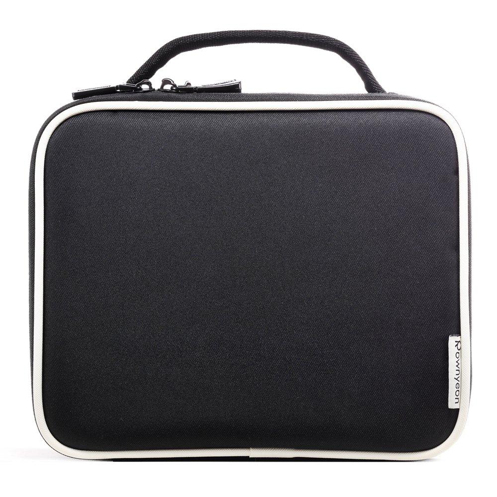 ROWNYEON Portable Travel makeup bag Makeup Case Mini Makeup Train Case 9.8'' (White edge)…