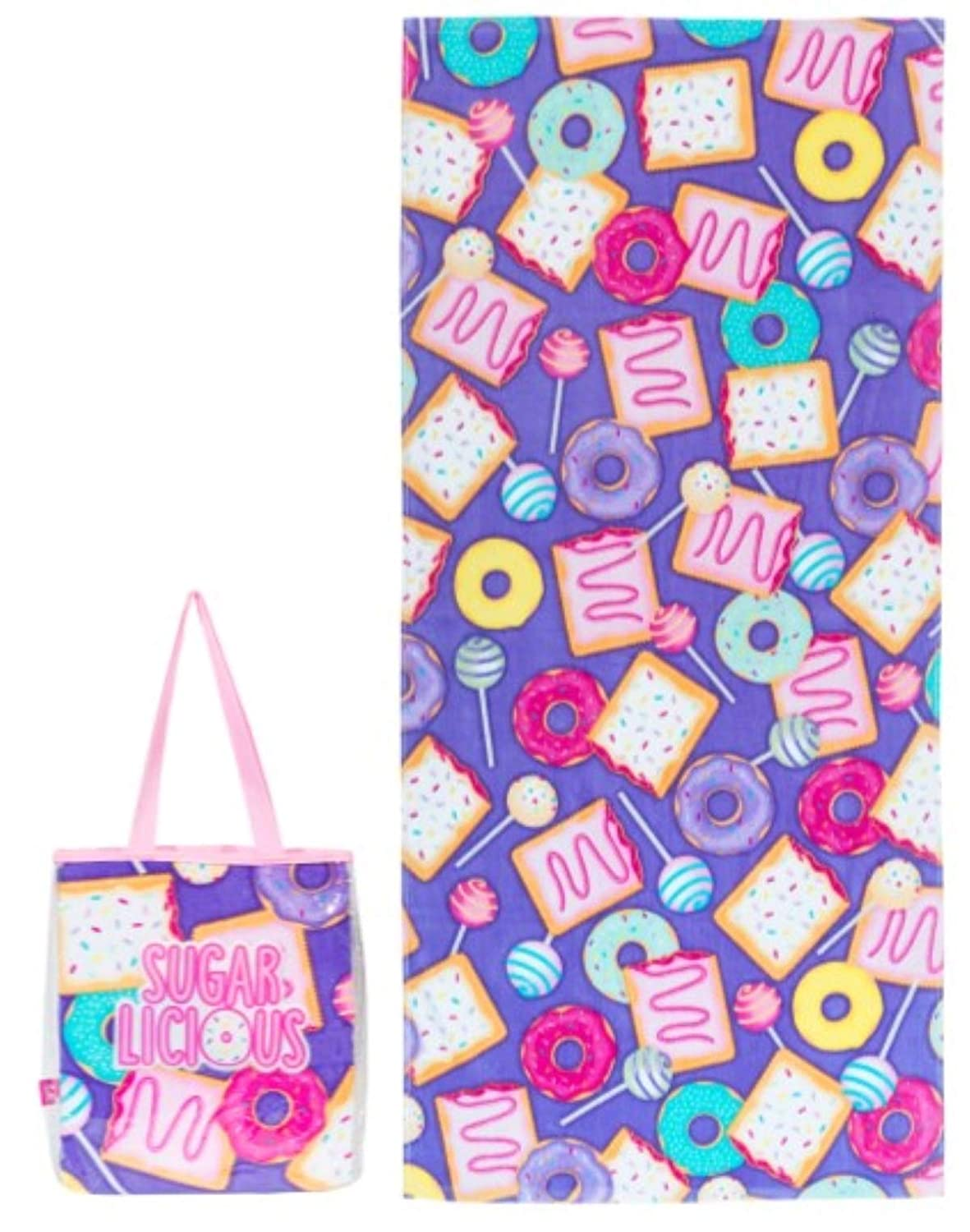 Girls Deluxe Cotton Terry Velour Beach Towel and Waterproof Tote Bag Set Sugarlicious Design