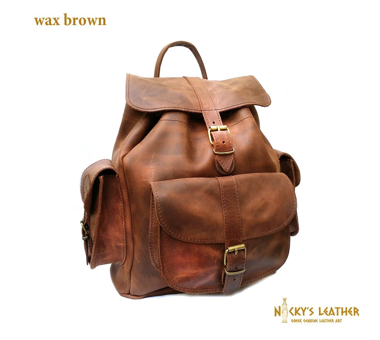 LEATHER BACKPACK from Real Full Grain Waxed Leather