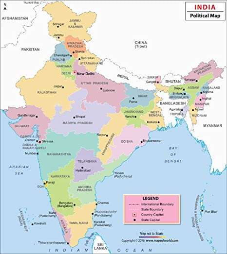 India States Map 2016.India Political Wall Map 27 5x32 Inches Maps Of India Amazon In