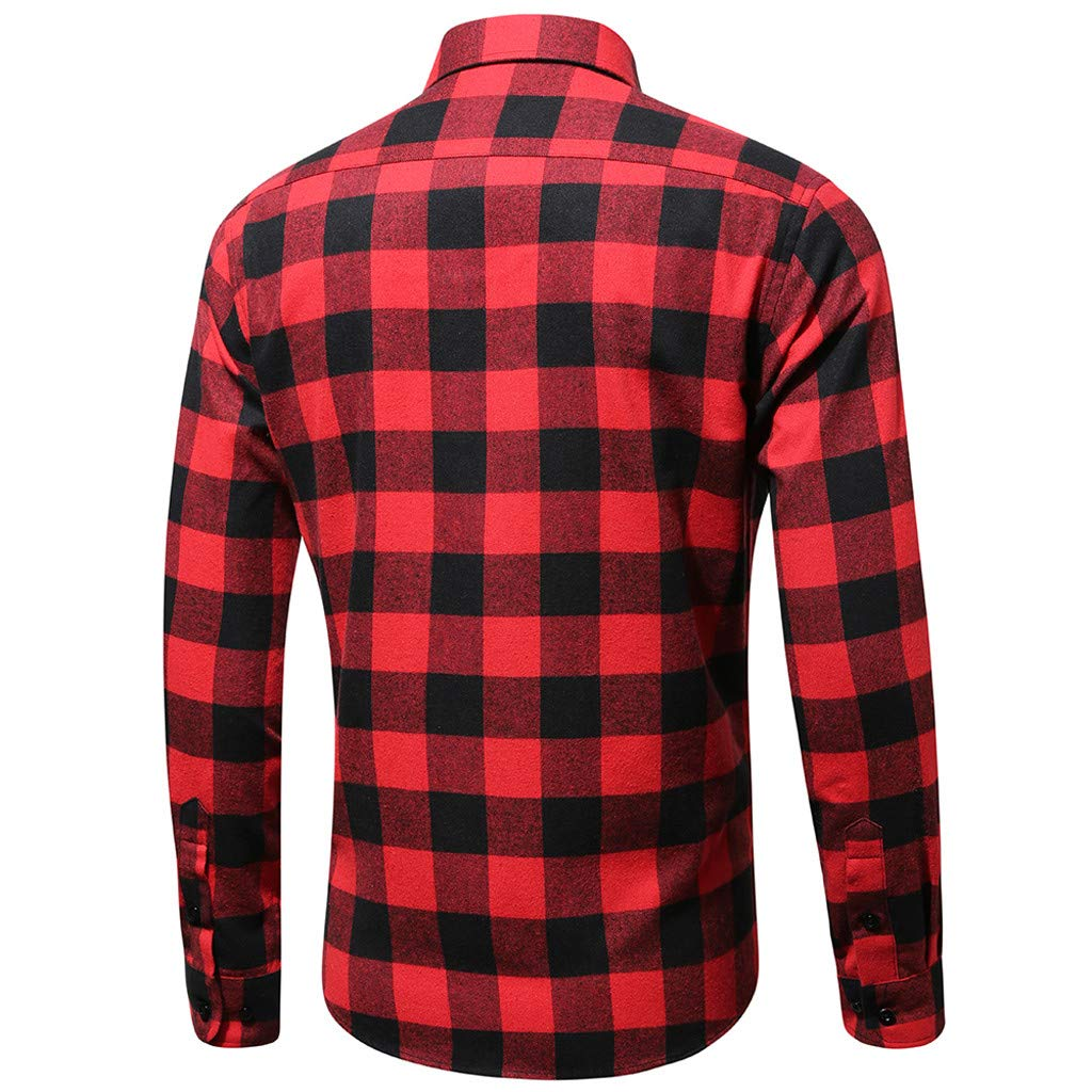 NewlyBlouW Mens Blouse, Fashion Long Sleeve Tees Casual Turn Down Collar Top Single Pocket Plaid Printed Vest Tank Red by NewlyBlouW (Image #2)