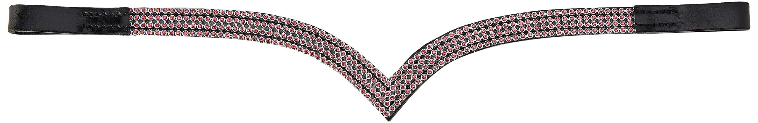 Cwell Equine V Pink Crystal Browband Choice of Sizes - F/C/P (Black) (COB 15'')