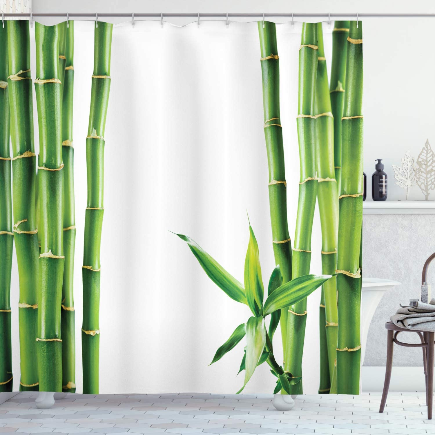 "Ambesonne Asian Shower Curtain, Branches of Bamboo Board Stalk Tropics Plants Greenery Fengshui Natural, Cloth Fabric Bathroom Decor Set with Hooks, 75"" Long, Green White"