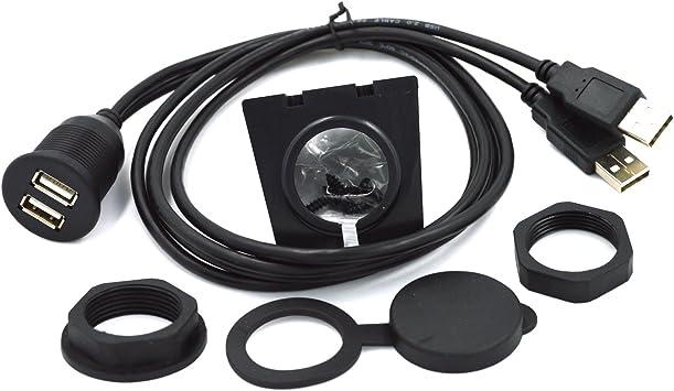 CERRXIAN 30cm Mini USB Car Mount Dash Flush Extension Cable for Car, Boat, Motorcycle, Truck Dashboard (Mini USB