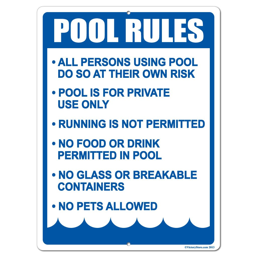 VictoryStore Yard Sign Outdoor Lawn Decorations: Pool Rules Aluminum Sign, Size 18 inch X 24 inch by VictoryStore