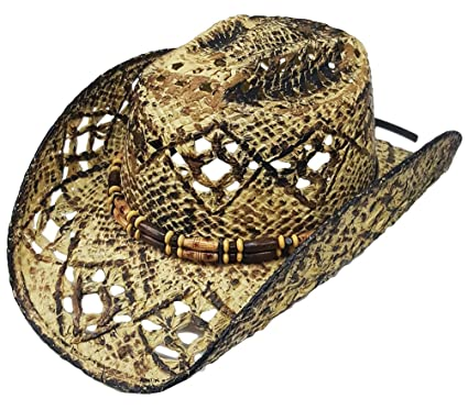 47af303803cc9 Modestone Unisex Cool Straw Cowboy Hat Light Yellow Black  Amazon.co.uk   Clothing