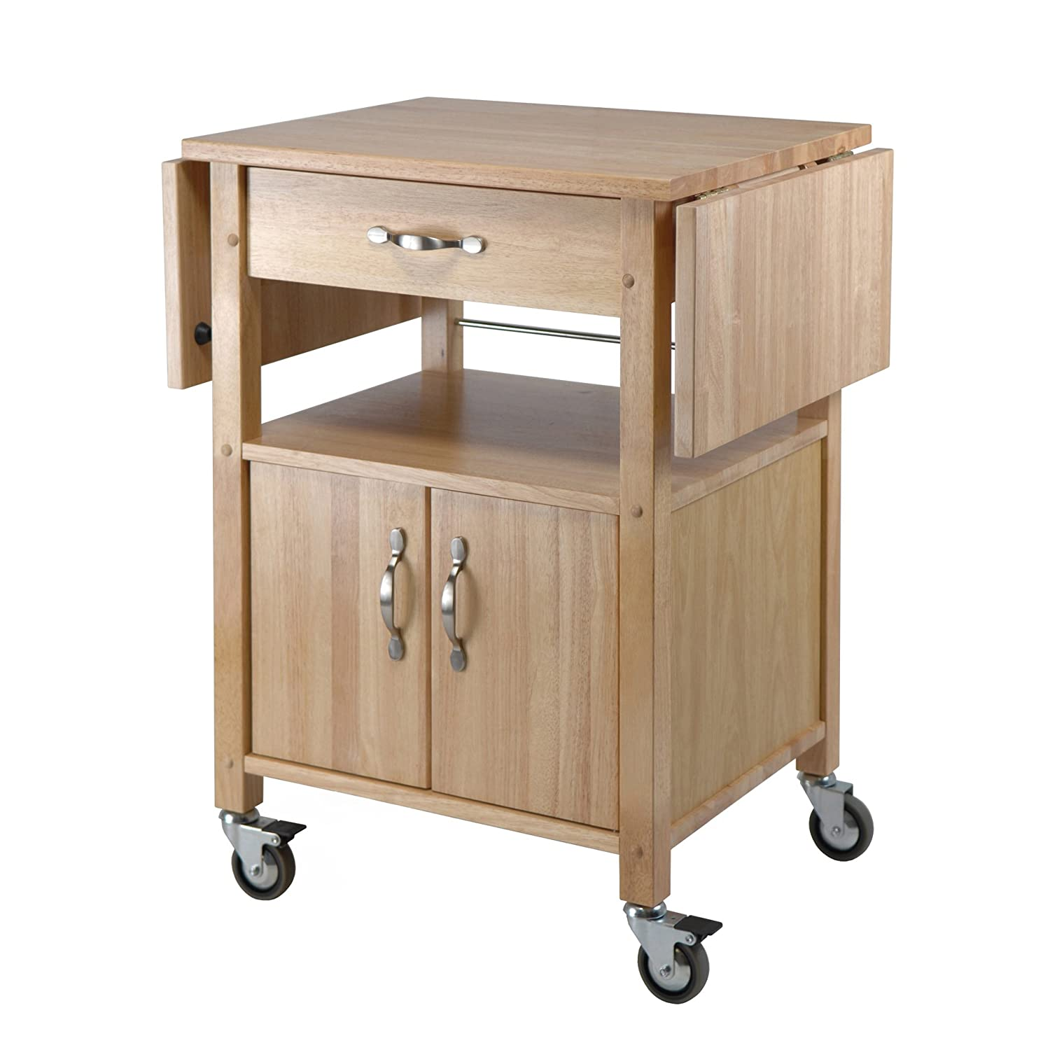 Amazoncom Winsome Wood Drop Leaf Kitchen Cart Bar Serving Carts
