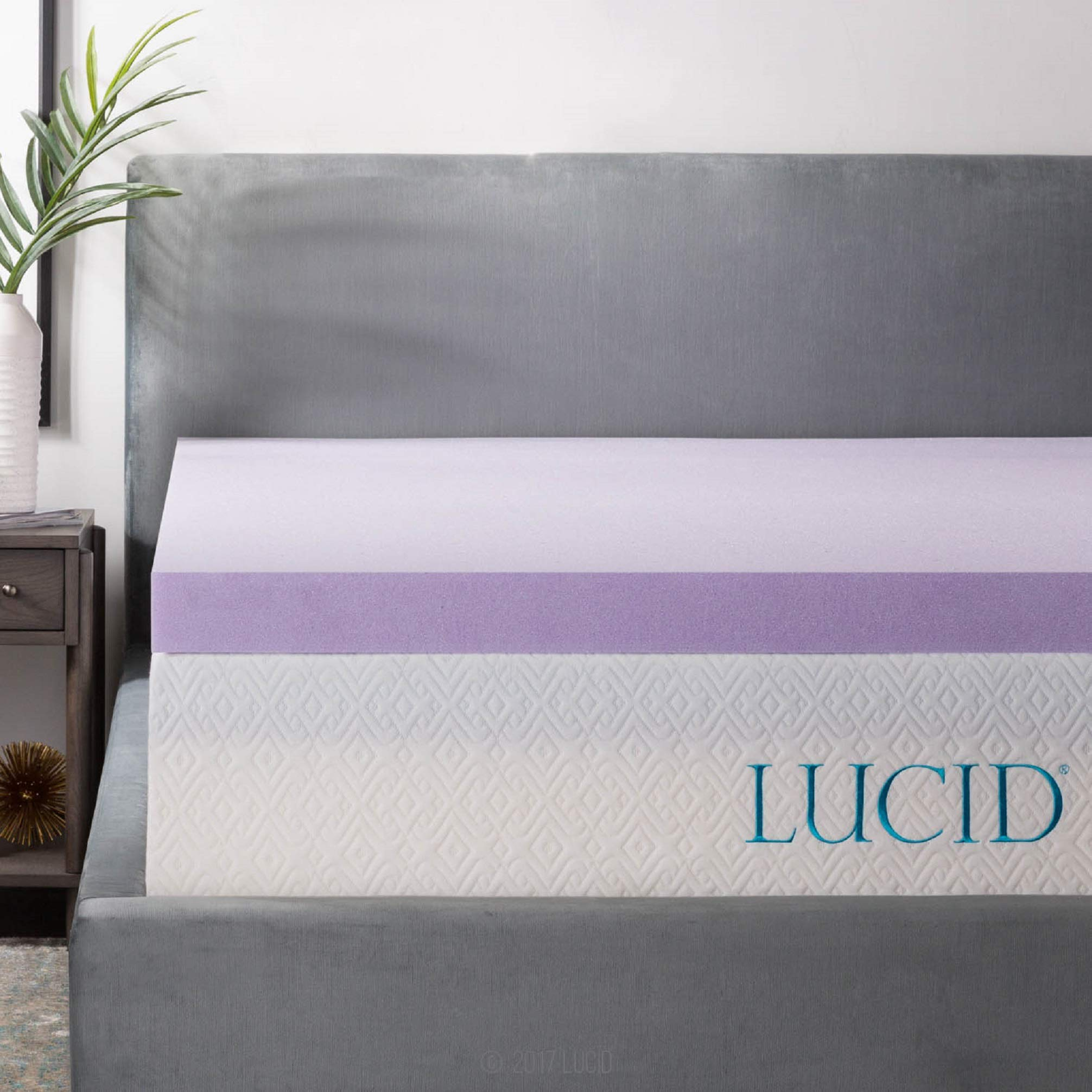 LUCID 3 Inch Lavender Infused Memory Foam Mattress Topper - Ventilated Design - Queen Size