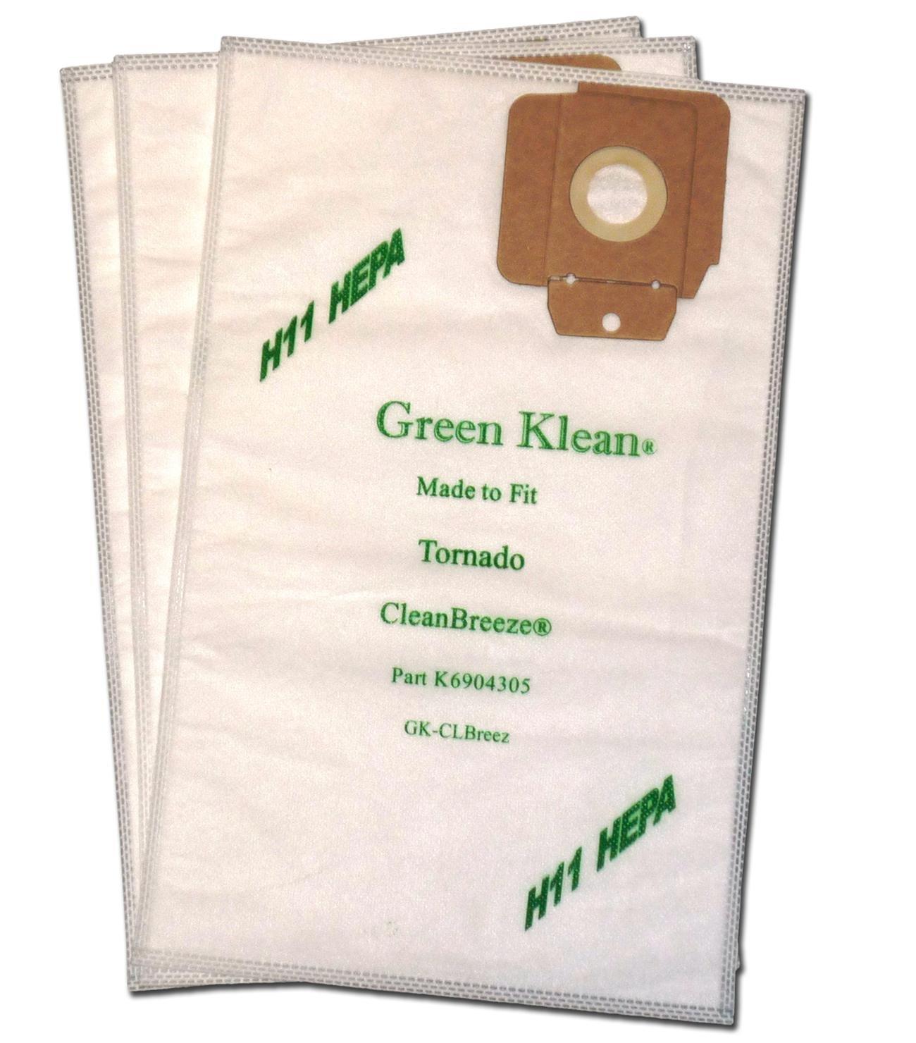 Green Klean GK-ClBreez H11 Tornado CV30 and CV38 H11 Hepa Replacement Vacuum Bags (Pack of 100)