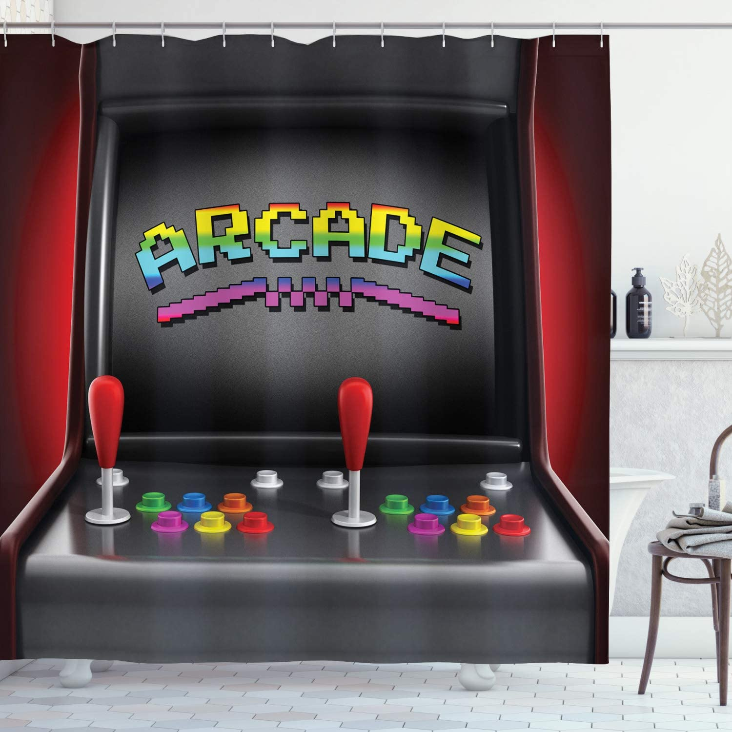 """Ambesonne Video Games Shower Curtain, Arcade Machine Retro Gaming Fun Joystick Buttons Vintage 80's 90's Electronic, Cloth Fabric Bathroom Decor Set with Hooks, 70"""" Long, Black Red"""