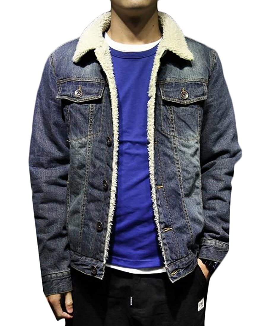 KLJR Mens Lambs Wool Lined Denim Jacket Thicken Slim Jean Coat