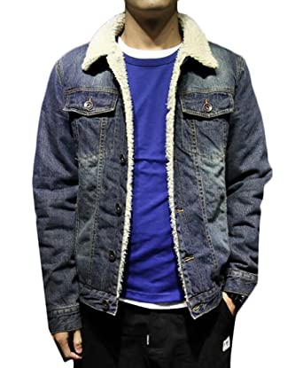 2d9001cdec96 KLJR Mens Lambs Wool Lined Denim Jacket Thicken Slim Jean Coat at Amazon  Men s Clothing store