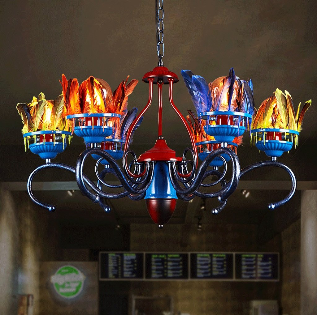 DGF Smallpox Chandelier- Creative Living Room Restaurant Bar Coloring Feather Light by Great St.