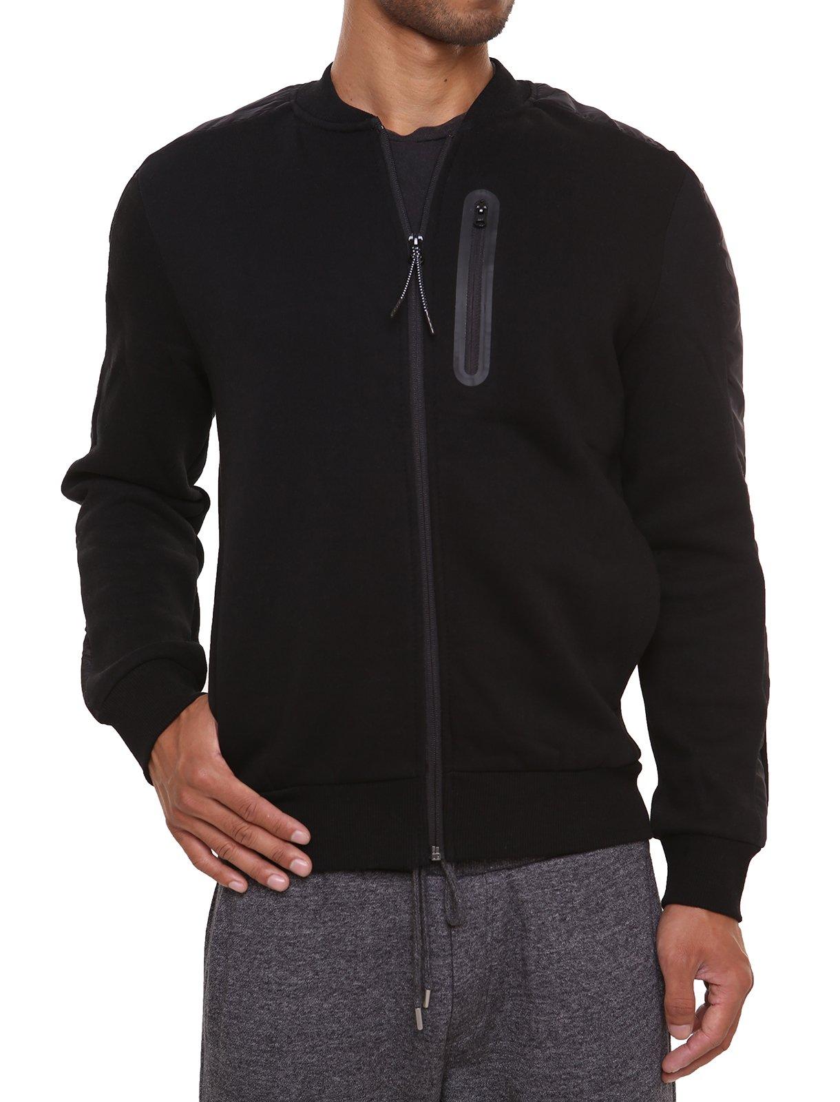 Fleece Sweatshirt Jacket Dotswarm Sweater-Comfort Front Zip Jacket Cozy Sport Outwear Casual,Black,X-Large by FORBIDEFENSE