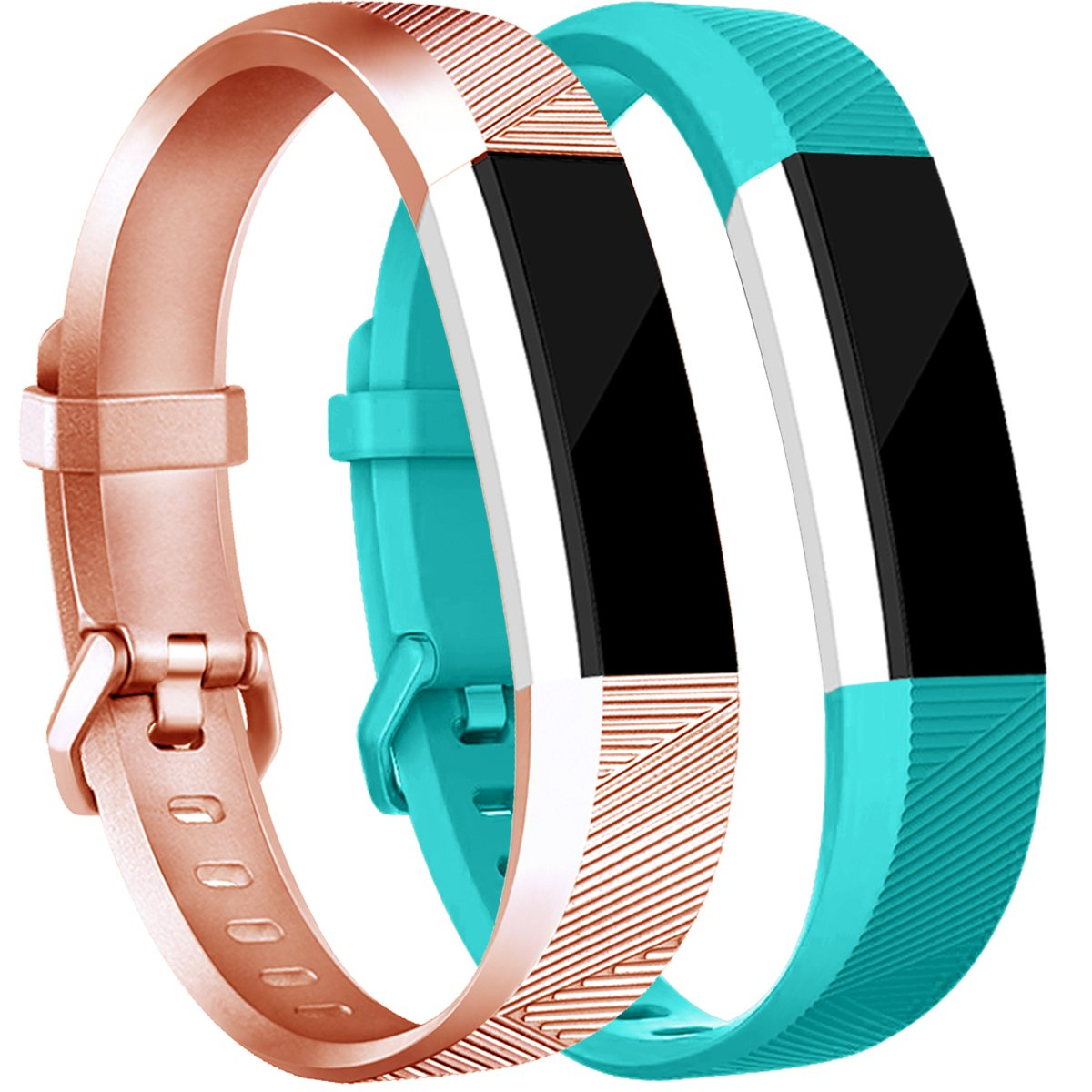 tobfit Fitbit ALTA用HRバンドレディース、メンズ、最新スタイル – スムースTpuローズゴールドandゴールドクラシックFitbit ALTA WatchアクセサリーWristbands with Metal Buckle/Clasp for Fitbit ALTAアルタHRと Small A#Rose Gold/Teal A#Rose Gold/Teal Small B07CVHD25L