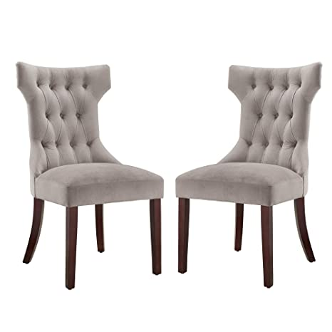 Peachy Dorel Living Clairborne Tufted Dining Chair 2 Pack Taupe Espresso Machost Co Dining Chair Design Ideas Machostcouk