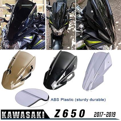 XX eCommerce para Kawasaki Z650 Z-650 Z 650 2017 2018 2019 Doble Burbuja Parabrisas Parabrisas Pantalla Protector Visera Visera con Soporte ...